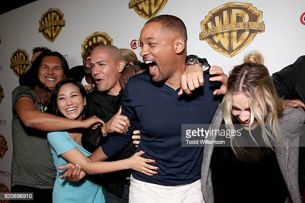 Actors Adam Beach Adewale AkinnuoyeAgbaje Karen Fukuhara Jay Hernandez Will Smith and Margot Robbie of 'Suicide Squad' attends CinemaCon 2016 Warner...