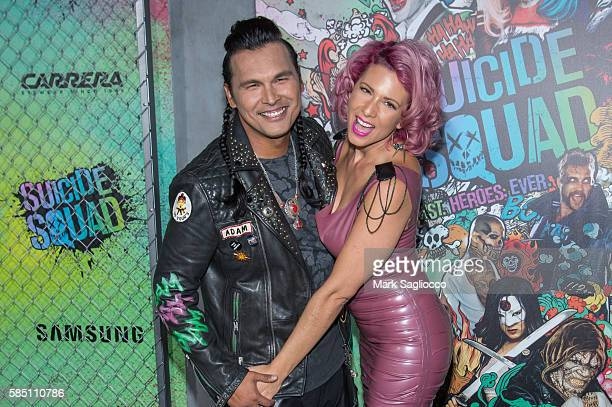 Actors Adam Beach and Summer Tiger attends the 'Suicide Squad' World Premiere at The Beacon Theatre on August 1 2016 in New York City