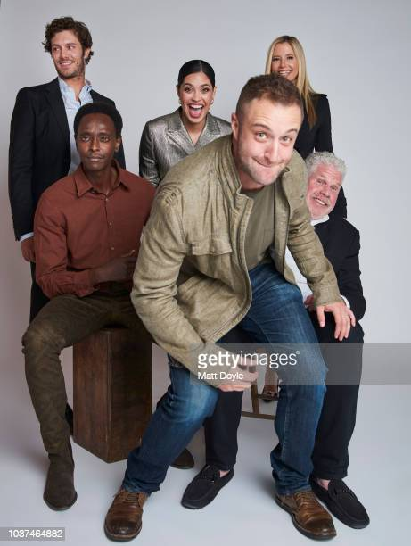 Actors Adam Brody Edi Gathegi Otmara Marrero Ron Perlman and Mira Sorvino and creator Ben Ketai of Sony Crackle's StartUp pose for a portrait during...