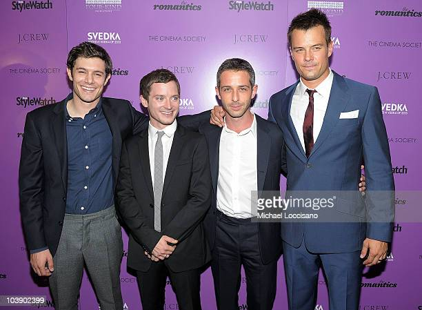 Actors Adam Brody Elijah Wood Jeremy Strong and Josh Duhamel attend the Cinema Society with People StyleWatch J Crew screening of The Romantics at...