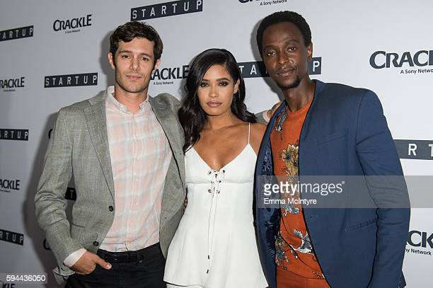 Actors Adam Brody Otmara Marrero and Edi Gathegi arrive at the premiere of Crackle's 'Startup' at The London Hotel on August 23 2016 in West...