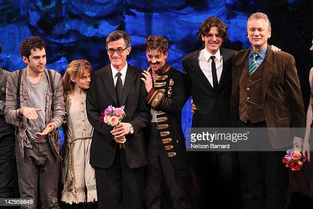 Actors Adam ChanlerBerat Celia KeenanBolger director Roger Rees actor Christian Borle director Alex Timbers and playwright Rick Elice take the stage...