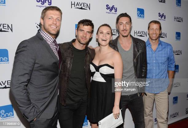 Actors Adam Copeland Lucas Bryant Emily Rose Eric Balfour and Colin Ferguson attend Entertainment One's ComicCon 2013 Kick Off Party at Sidebar on...