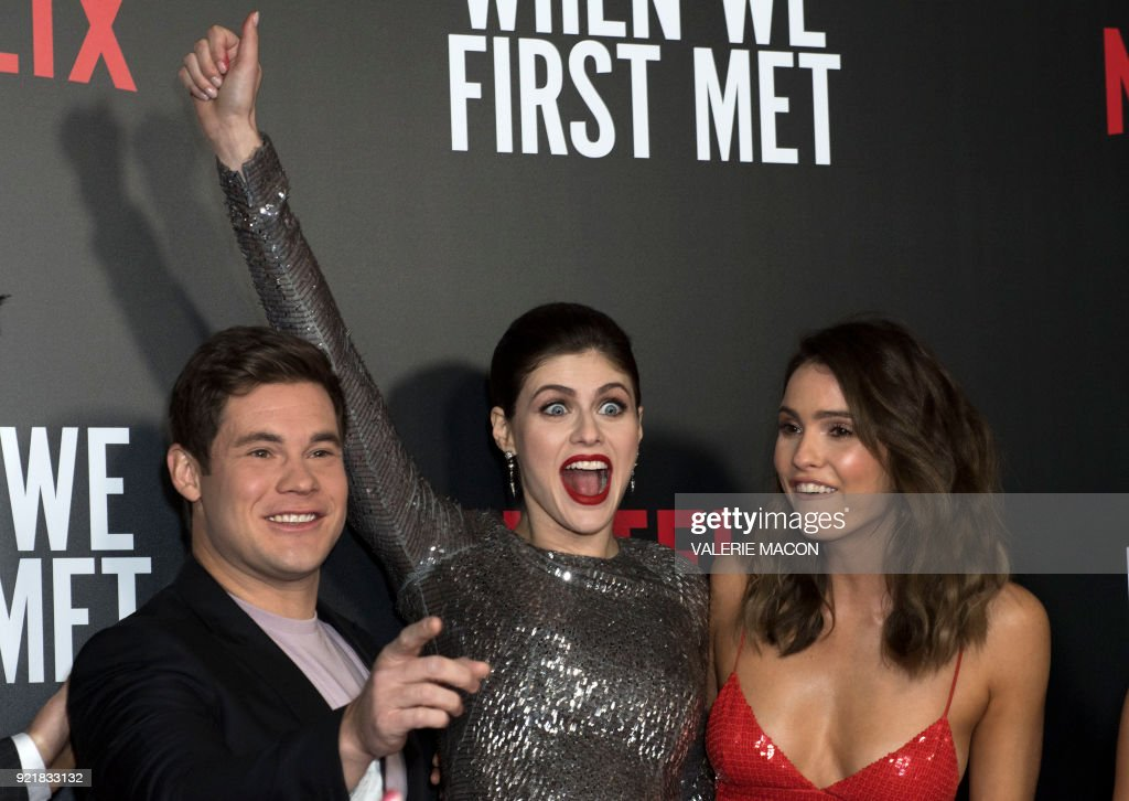 Actors Adam Devine, Alexandra Daddario and Shelley Hennig attend the Los Angeles special screening of Netflix's 'When We First Met,' on February 20, 2018, in Hollywood, California. /