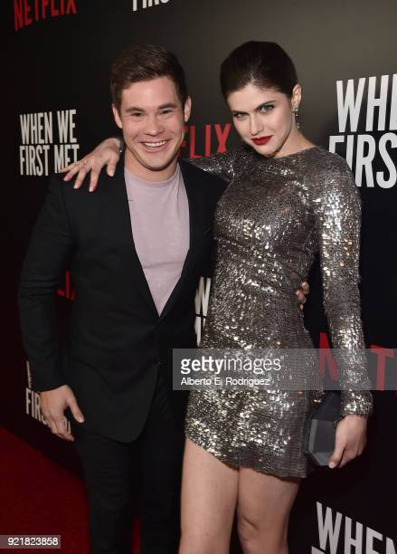 Actors Adam Devine and Alexandra Daddario attend a special screening of Netflix's 'When We First Met' at ArcLight Hollywood on February 20 2018 in...