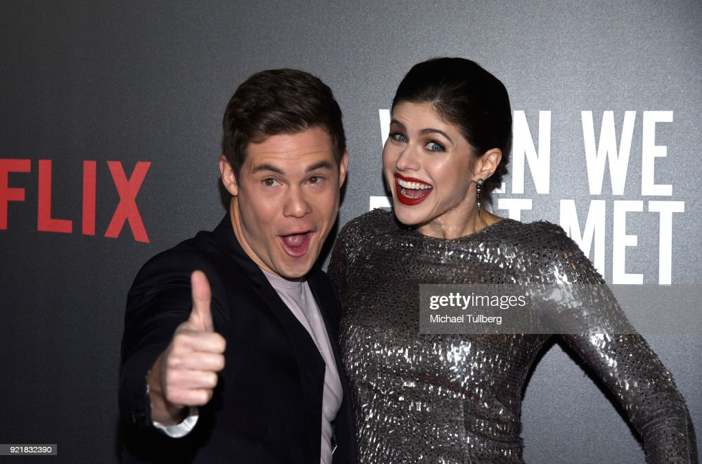 Actors Adam Devine and Alexandra Daddario attend a special screening of Netflix's 'When We First Met' at ArcLight Hollywood on February 20, 2018 in Hollywood, California.