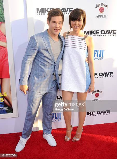Actors Adam DeVine and Aubrey Plaza arrive at the premiere of 20th Century Fox's 'Mike And Dave Need Wedding Dates' at the Cinerama Dome at ArcLight...
