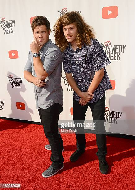 Actors Adam DeVine and Blake Anderson attend 'The Big Live Comedy Show' presented by YouTube Comedy Week held at Culver Studios on May 19 2013 in...
