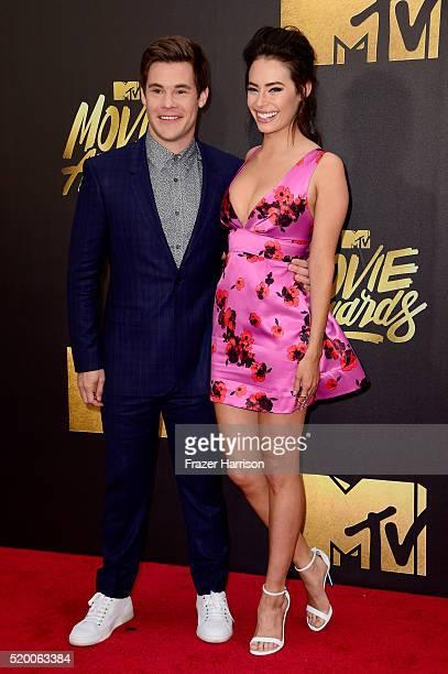 Actors Adam DeVine and Chloe Bridges attend the 2016 MTV Movie Awards at Warner Bros Studios on April 9 2016 in Burbank California MTV Movie Awards...