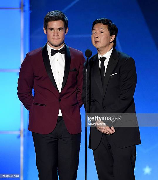 Actors Adam DeVine and Ken Jeong speak onstage during the 21st Annual Critics' Choice Awards at Barker Hangar on January 17 2016 in Santa Monica...