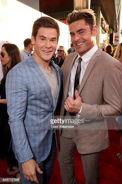 Actors Adam Devine and Zac Efron attend the premiere of 20th Century Fox's 'Mike and Dave Need Wedding Dates' at ArcLight Cinemas Cinerama Dome on...