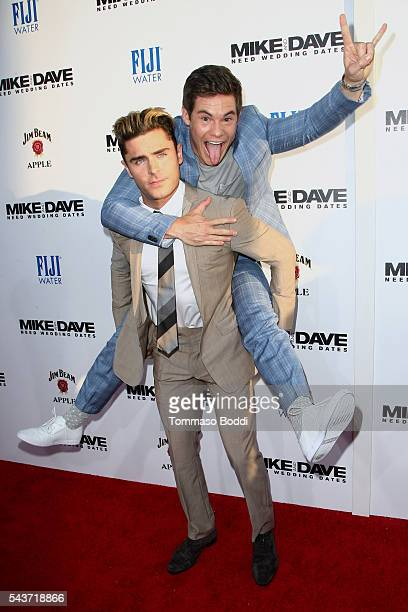Actors Adam Devine and Zac Efron attend the premiere of 20th Century Fox's 'Mike And Dave Need Wedding Dates' on June 29 2016 in Los Angeles...