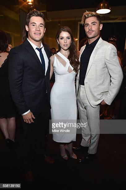Actors Adam DeVine Anna Kendrick and Zac Efron attend Spike TV's 10th Annual Guys Choice Awards at Sony Pictures Studios on June 4 2016 in Culver...