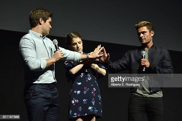 Actors Adam DeVine Anna Kendrick and Zac Efron of 'Mike and Dave Need Wedding Dates' speak onstage during CinemaCon 2016 as 20th Century Fox Invites...