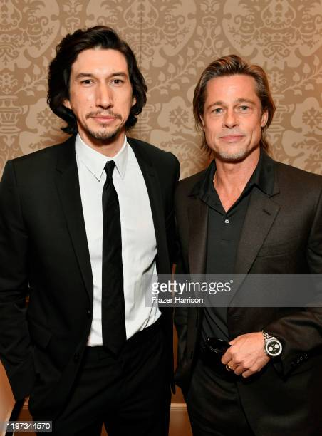 Actors Adam Driver and Brad Pitt attend the 20th Annual AFI Awards at Four Seasons Hotel Los Angeles at Beverly Hills on January 03, 2020 in Los...