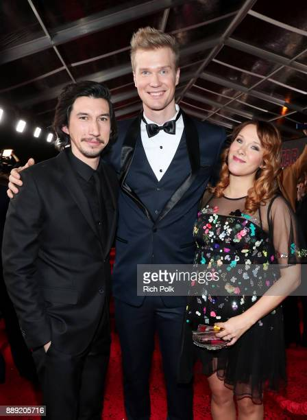 Actors Adam Driver and Joonas Suotamo and Milla Pohjasvaara at the world premiere of Lucasfilm's Star Wars The Last Jedi at The Shrine Auditorium on...