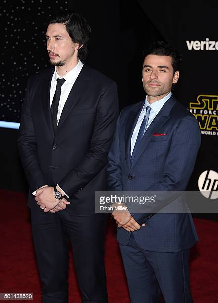 Actors Adam Driver and Oscar Isaac attend the premiere of Walt Disney Pictures and Lucasfilm's Star Wars The Force Awakens at the Dolby Theatre on...
