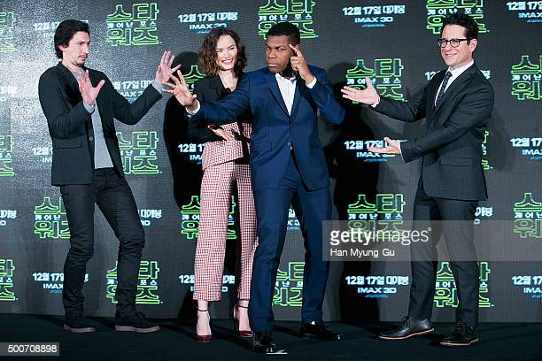 Actors Adam Driver Daisy Ridley John Boyega and Director JJ Abrams attend the press conference for 'Star Wars The Force Awakens' at the Conrad Hotel...