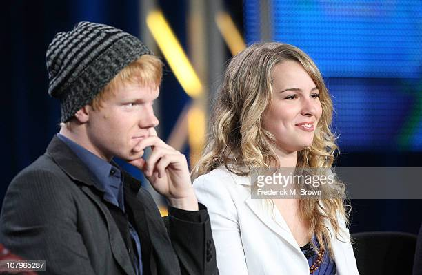 Actors Adam Hicks and Bridgit Mendler speak at Disney ABC Television Group's TCA 'Winter Press Tour' Panels at The Langham Hotel on January 10 2011...
