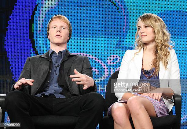 Actors Adam Hicks and Bridgit Mendler speak at Disney ABC Television Group's TCA 'Winter Press Tour' Panels at The Langham Hotel on January 10 2011...