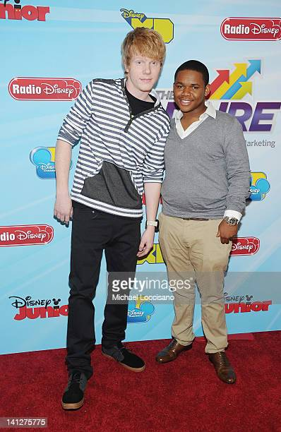Actors Adam Hicks and Doc Shaw attend the 201213 Disney Channel Worldwide Kids Upfront at the Hard Rock Cafe Times Square on March 13 2012 in New...