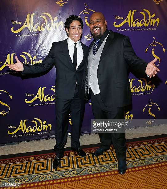 Actors Adam Jacobs and James Monroe Iglehart attend the 'Aladdin' On Broadway Opening Night after party at Gotham Hall on March 20 2014 in New York...