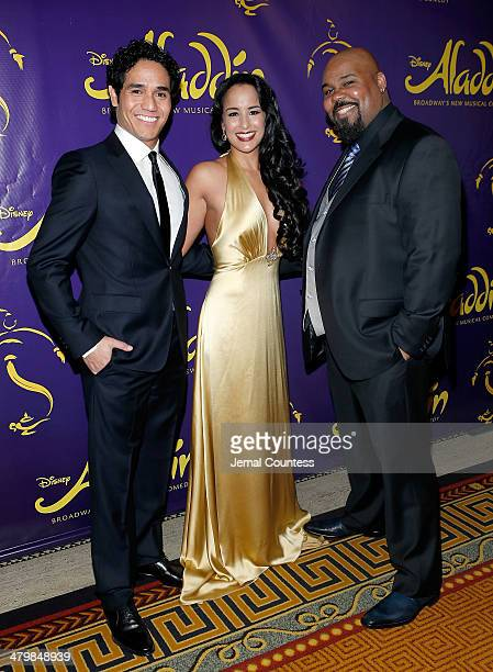 Actors Adam Jacobs Courtney Reed and James Monroe Iglehart attend the 'Aladdin' On Broadway Opening Night after party at Gotham Hall on March 20 2014...
