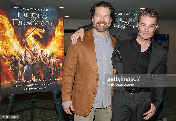Actors Adam Johnson and James Marsters attend the premiere of Samuel Goldwyn Films' 'Dudes And Dragons' at Harmony Gold on February 29 2016 in Los...