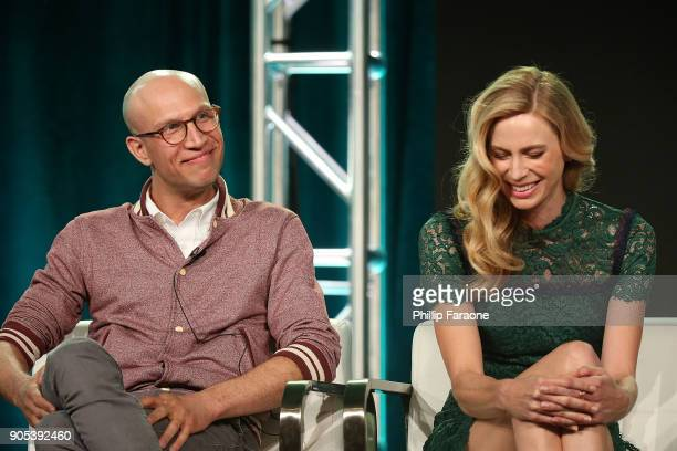 Actors Adam Lustick and Anne Dudek of 'Corporate' speak onstage during the Comedy Central portion of the 2018 Winter TCA on January 15 2018 in...