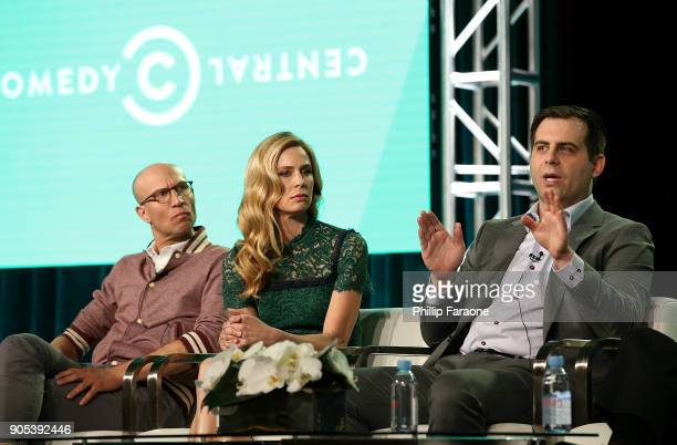 Actors Adam Lustick Anne Dudek and Executive producer/Writer/Actor Jake Weisman of 'Corporate' speak onstage during the Comedy Central portion of the...