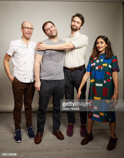 Actors Adam Lustick Jake Weisman Matt Ingebretson and Aparna Nancherla from the show 'Corporate' pose for a portrait in the Getty Images Portrait...