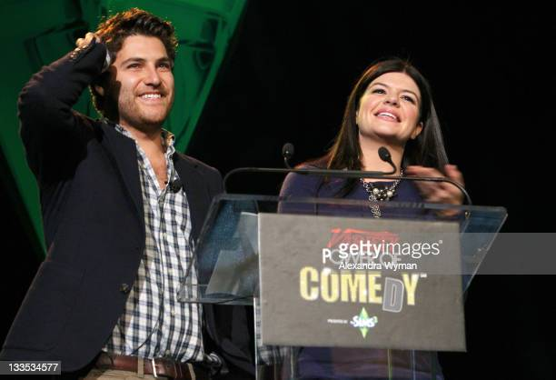 Actors Adam Pally and Casey Wilson speaks onstage at Variety's Power of Comedy Presented By The Sims 3 Benefiting The Noreen Fraser Foundation at...
