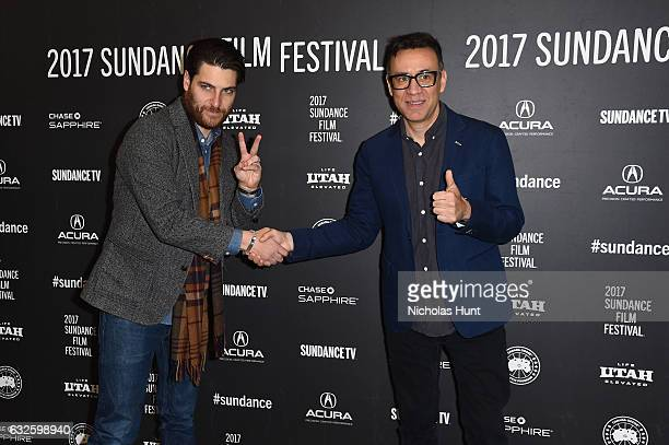 Actors Adam Pally and Fred Armisen attend the Band Aid Premiere at Eccles Center Theatre on January 24 2017 in Park City Utah