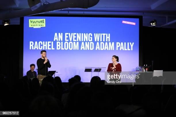 Actors Adam Pally and Rachel Bloom speak onstage during Vulture Festival presented by ATT An Evening with Rachel Bloom and Adam Pally at Milk Studios...