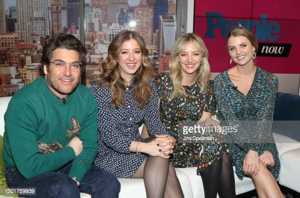 Actors Adam Pally Jessy Hodges Abby Elliott and host Andrea Boehlke on the set of People Now on January 24 2020 in New York United States