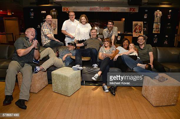 Actors Adam Reed Jon Benjamin Jessica Walter Chris Parnell Amber Nash Lucky Yates Aisha Tyler Judy Greer and actor Christian Slater speak at 'ARCHER...