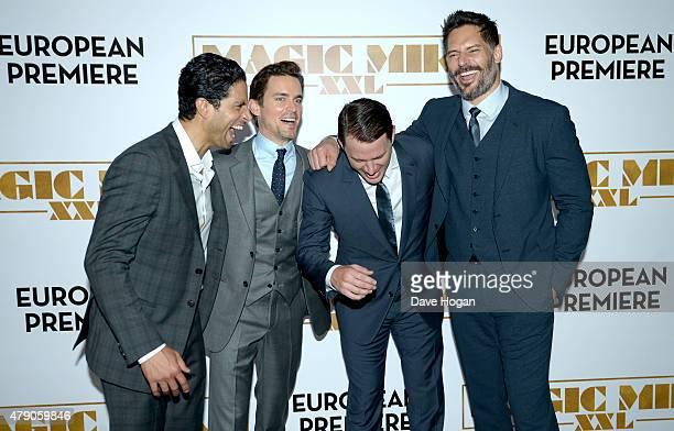 Actors Adam Rodriguez Matt Bomer Channing Tatum and Joe Manganiello attend the European Premiere of Magic Mike XXL at Vue West End on June 30 2015 in...
