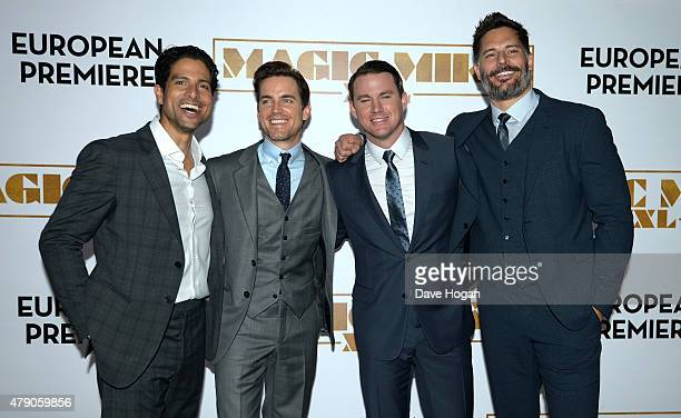 Actors Adam Rodriguez Matt Bomer Channing Tatum and Joe Manganiello attend the European Premiere of 'Magic Mike XXL' at Vue West End on June 30 2015...