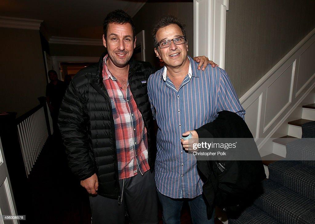 Actors Adam Sandler and Allen Covert attend Rock4EB, Malibu, with Jackson Browne & David Spade sponsored by Suja Juice & Sabra Hummus at Private Residence on September 28, 2014 in Malibu, California.