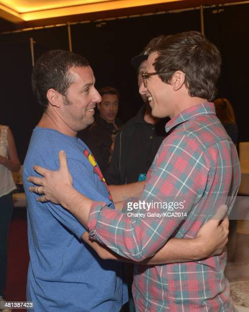 Actors Adam Sandler and Andy Samberg attend Nickelodeon's 27th Annual Kids' Choice Awards held at USC Galen Center on March 29 2014 in Los Angeles...