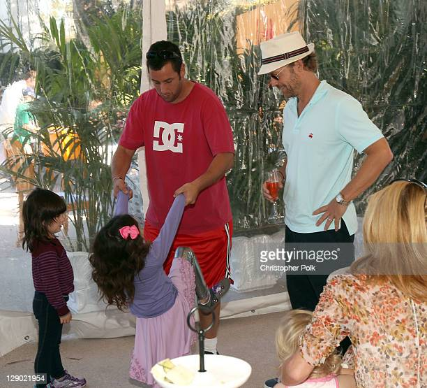 Actors Adam Sandler and Greg Kinnear attend the Veuve Clicquot Polo Classic Los Angeles at Will Rogers State Historic Park on October 9, 2011 in Los...