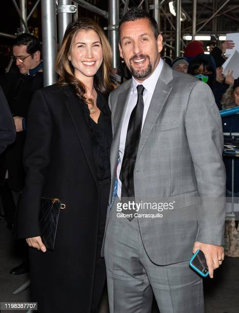 Actors Adam Sandler and Jackie Sandler are seen arriving to the 2020 National Board Of Review Gala at Cipriani 42nd Street on January 08 2020 in New...