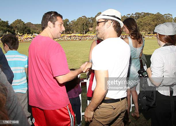 Actors Adam Sandler and Jeremy Piven attend the Veuve Clicquot Polo Classic Los Angeles at Will Rogers State Historic Park on October 9, 2011 in Los...