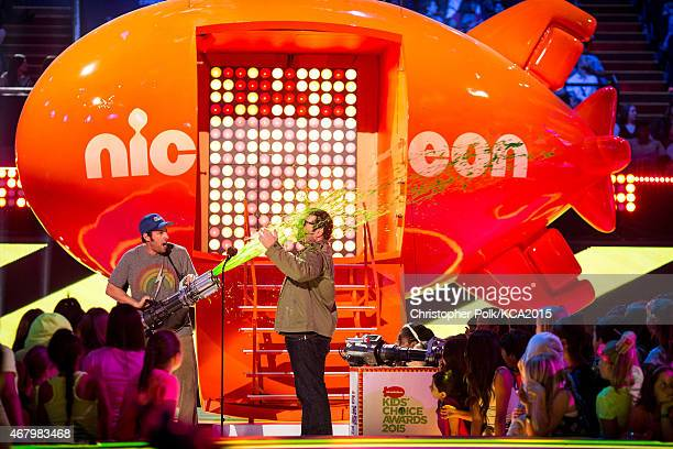 Actors Adam Sandler and Josh Gad attend Nickelodeon's 28th Annual Kids' Choice Awards held at The Forum on March 28 2015 in Inglewood California