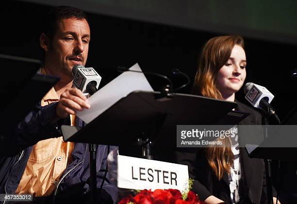 Actors Adam Sandler and Kaitlyn Dever participate in the Film Independent Live Read of 'American Beauty' at the Bing Theatre at LACMA on October 16...