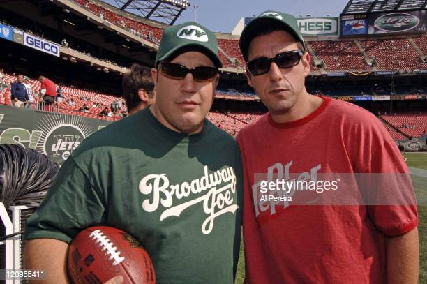 Actors Adam Sandler and Kevin James on the Jets' sideline in action during the Patriots' 2417 win over the Jets at The Meadowlands East Rutherford...