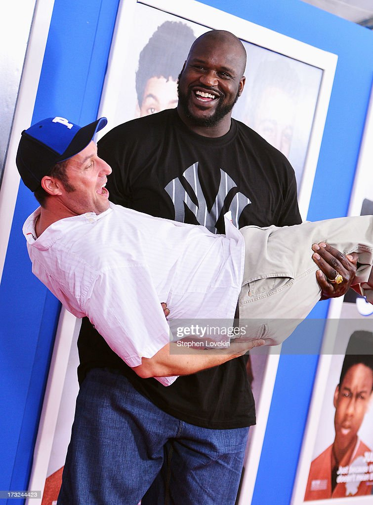 Actors Adam Sandler (L) and Shaquille O'Neal attend the 'Grown Ups 2' New York Premiere at AMC Lincoln Square Theater on July 10, 2013 in New York City.