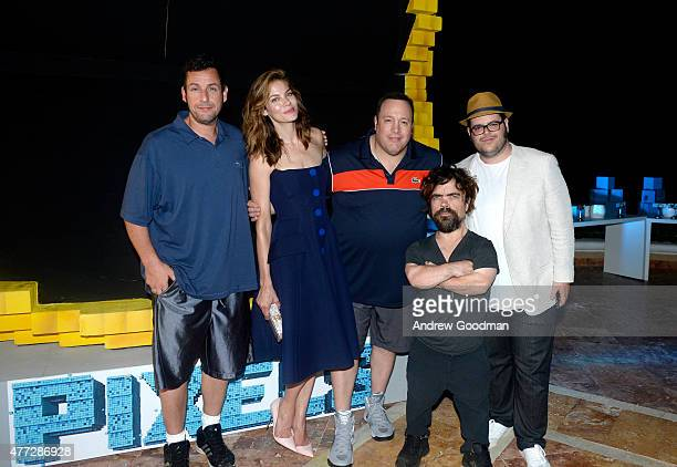 Actors Adam Sandler Michelle Monaghan Kevin James Peter Dinklage and Josh Gad attend the 'Pixels' photo call during Summer Of Sony Pictures...
