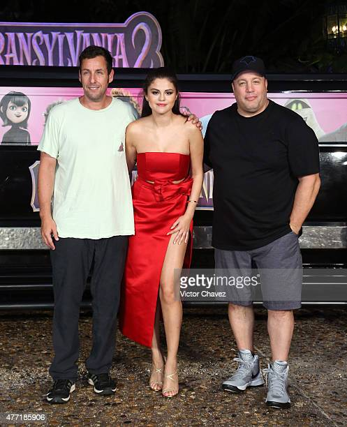 Actors Adam Sandler Selena Gomez and Kevin James attend the Hotel Transylvania 2 photo call during Summer Of Sony Pictures Entertainment 2015 at The...