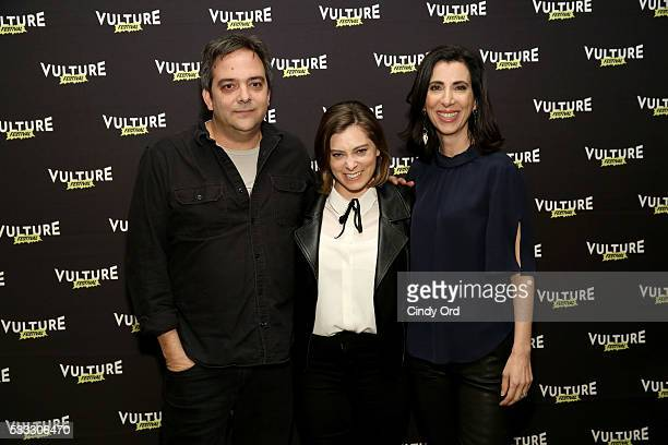 Actors Adam Schlesinger Rachel Bloom and Aline Brosh McKenna attend Crazy Ex Girlfriend A Musical Revue at the Vulture Festival at Milk Studios on...